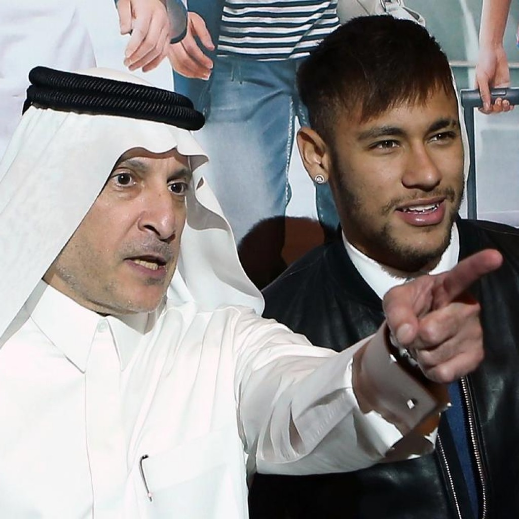 CEO da Qatar Airways, Akbar al-Baker (AFP), e nosso Neymar Jr – foto internet